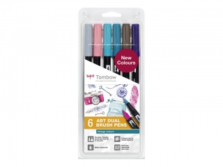 Tombow Dual Brush Pen Sada 6ks - Vintage Colours
